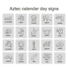icons with Aztec calendar Day signs vector image vector image