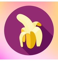 banana flat long shadow icon vector image vector image