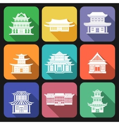 Chinese house icons flat vector image