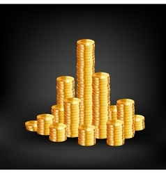 Coins on black background vector image vector image