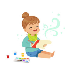cute little girl drawing with paints in her vector image vector image