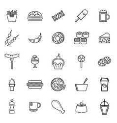 Fast food line icons on white background vector