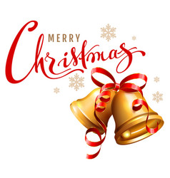 merry christmas calligraphy text golden bell with vector image vector image