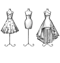 Set of mannequins in dresses vector image vector image