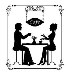 silhouettes of a loving couple in a cafe and vinta vector image vector image