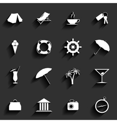 Traveling and vacation Flat icons vector image vector image