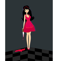 Alice in Wonderland with knife in blood vector image