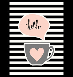 cute cup poster design vector image vector image