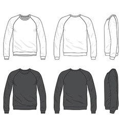 Front back and side views of blank raglan long vector image