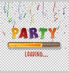 party loading poster template with confetti and vector image