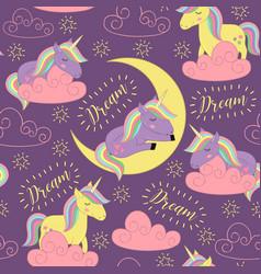 seamless pattern with sleeping unicorn vector image vector image