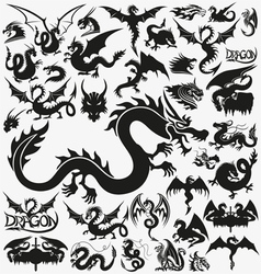 Set of black dragons vector image vector image