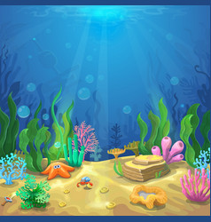 Underwater landscape The ocean and the undersea vector image