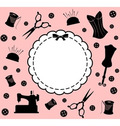 Vintage sewing related elements vector image