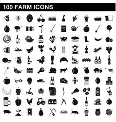 100 farm icons set simple style vector image