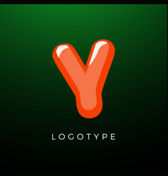 3d playful letter y kids and joy style symbol vector