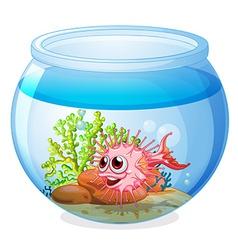 A fish inside the transparent aquarium vector