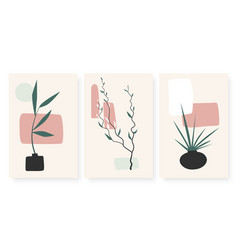Abstract geometric shapes vases with plant branch vector
