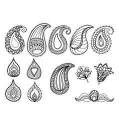 abstract hand-drawn paisley pattern design vector image