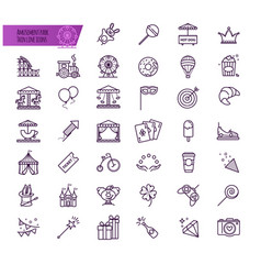 Amusement park attraction icons vector