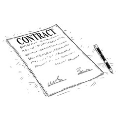 artistic drawing of pen and contract document to vector image