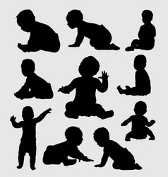 Baby activity silhouette vector