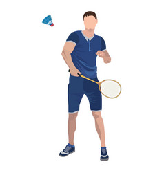 Badminton player with racket and shuttlecock vector
