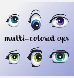 Beautiful large multi-colored eyes vector