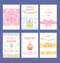birthday invitation cards template vector image
