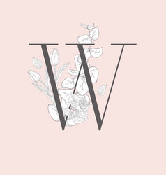 blooming floral elegant w monogram and logo vector image