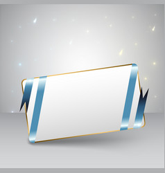 Blue ribbon greeting card vector