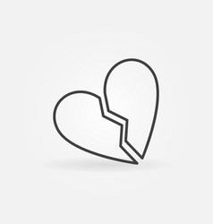 broken heart concept icon in thin line vector image