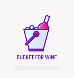 bucket for wine bottle thin line icon vector image