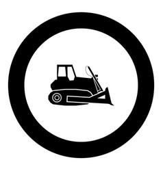 Bulldozer icon black color in round circle vector
