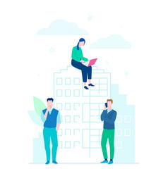 business cooperation - flat design style colorful vector image