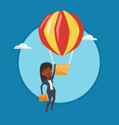 Business woman hanging on balloon vector