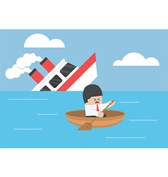Businessman escape from the shipwreck vector