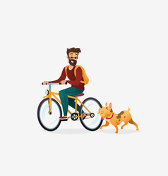 cartoon of young man riding vector image