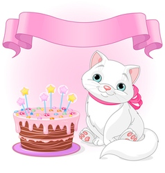 Cat birthday celebrating vector