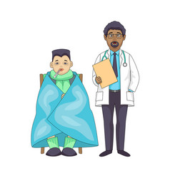 caucasian doctor boy in blanket with temperature vector image