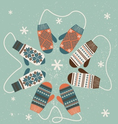 Christmas decoration with mittens vector