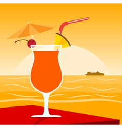 coctail on beach 2 vector image
