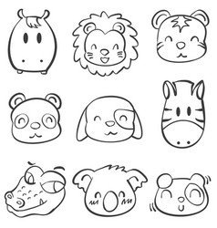 collection doodle animal head style vector image