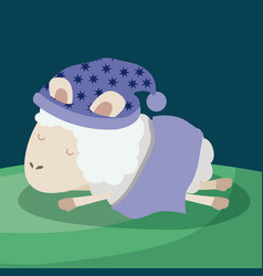 color poster scene closeup sheep sleeping cap vector image