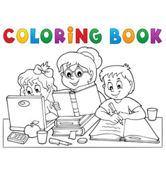 Coloring book home schooling image 1 vector