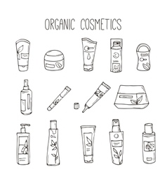 Cosmetic bottles Organic cosmetics vector