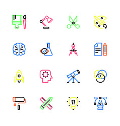 Creativity multicolor linear icons vector