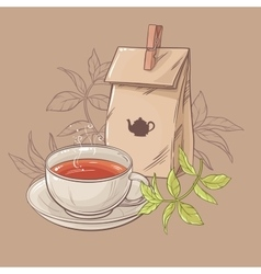 Cup of tea and paper packaging vector