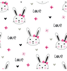 cute bunny girl seamless pattern vector image