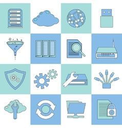 Database icons flat line vector image
